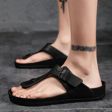 2019 Brand Summer Men slippers Male genuine leather Flip Flops for man vintage Casual Beach Sandals Non-slide Zapatos Shoes(China)