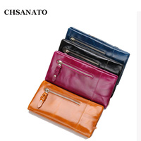CHSANATO Ladies Wallets and Purses Fashion Oil Wax Leather Women Wallet Female Girls Wallet Women Long Coin Purse Holders