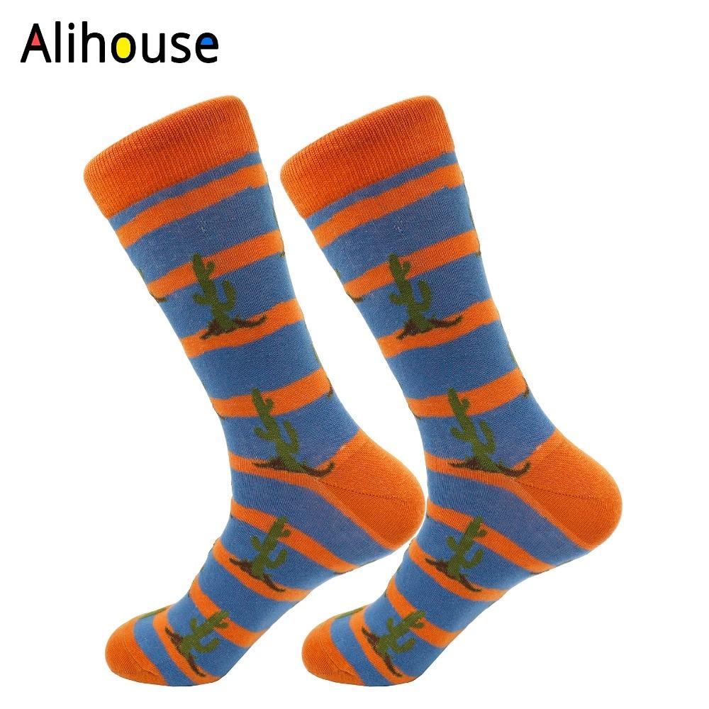 Alihouse Mens Combed Cotton Socks Multi Colorful Funny Pattern Casual Crew Socks Brand Harajuku Happy Party Dress Crazy Socks