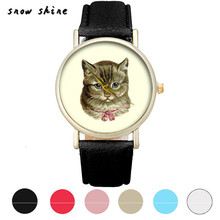 snowshine #10   Cat Pattern Leather Band Analog Quartz Vogue Wrist Watch   free shipping