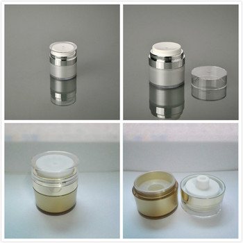 15g pearl white/gold airless cream jar with silver collar ,transparent lid  ,airless emulsion bottle ,airless lotion bottle