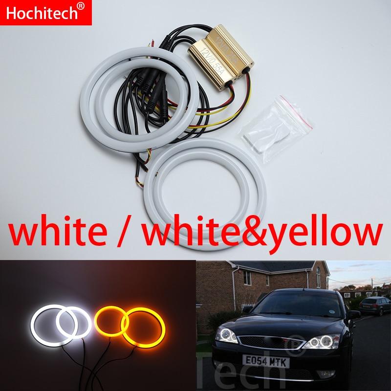 Pour FORD Mondeo MK3 2001-2007 blanc et jaune coton LED Angel eyes kit halo anneau clignotant