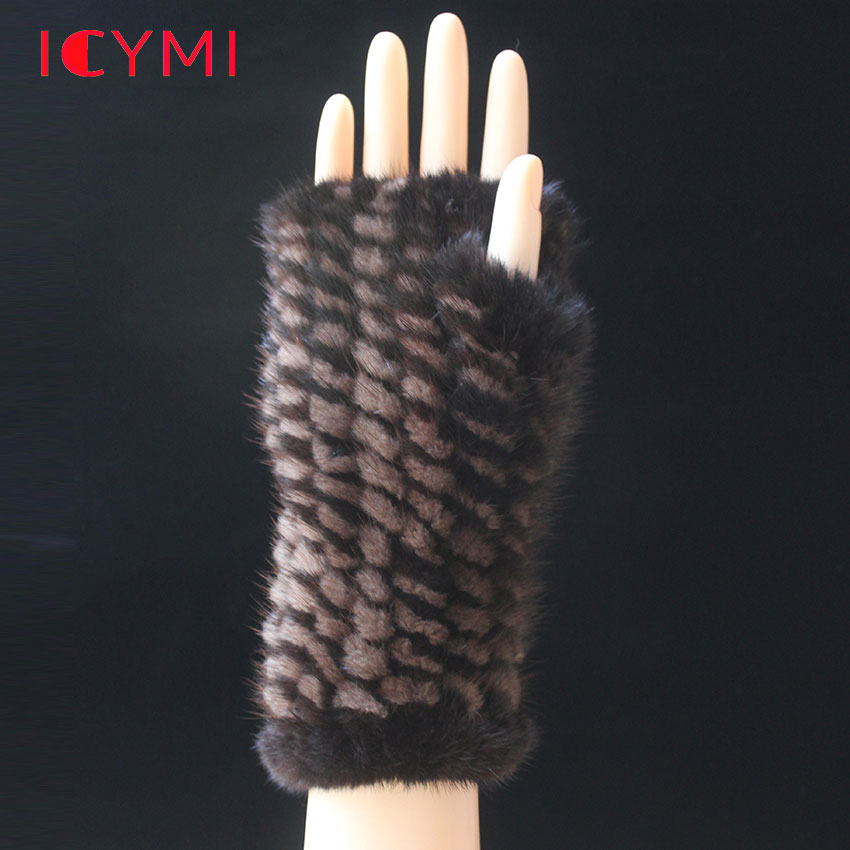 ICYMI Winter Gloves Without Fingers 100% Natural Genuine Mink Fur Knitted Long Glove for Women 20cm Real Fur Warm Female Mittens