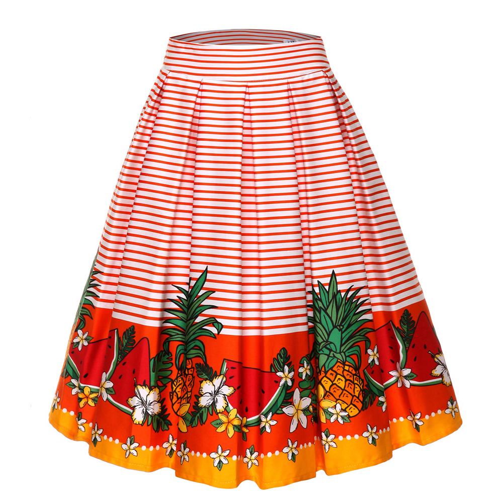 Image 5 - 4XL Floral Print 50s 60s Skirts Plus Size Big Swing Retro Skirt High Waisted Pleated Skirt 50s Rockabilly Vintage Women ClothingSkirts   -