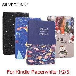 LIGAÇÃO DE PRATA Multicolor 3 Imprimir Caso PU Capa Protetora para Kindle Paperwhite Kindle Paperwhite 1/2/3 Auto sono/Despertar Caso