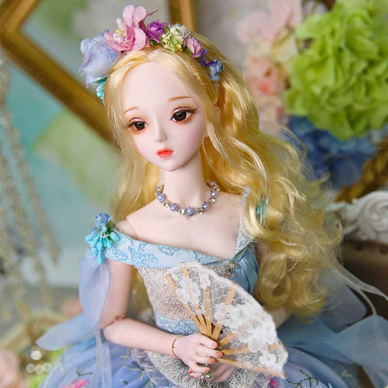 forturn day 1/3 bjd doll 62cm joint body doll white skin golden hair with  flower dress shoes headdress, Caroline