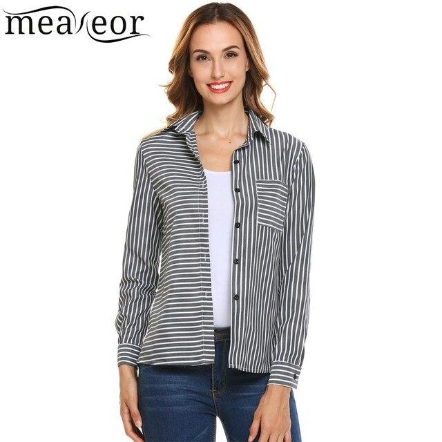 fe8e2a42 Meaneor Women Shirt Blouse Autumn Long Sleeve Striped Button Turn Down  Collar Blouse Casual High-