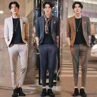 Korean Costume Homme 2019 Summer Traje Hombre 2 Pcs Set Grey Tuxedo Office Dress Suits Slim Fit Social Mens Suits with Pants