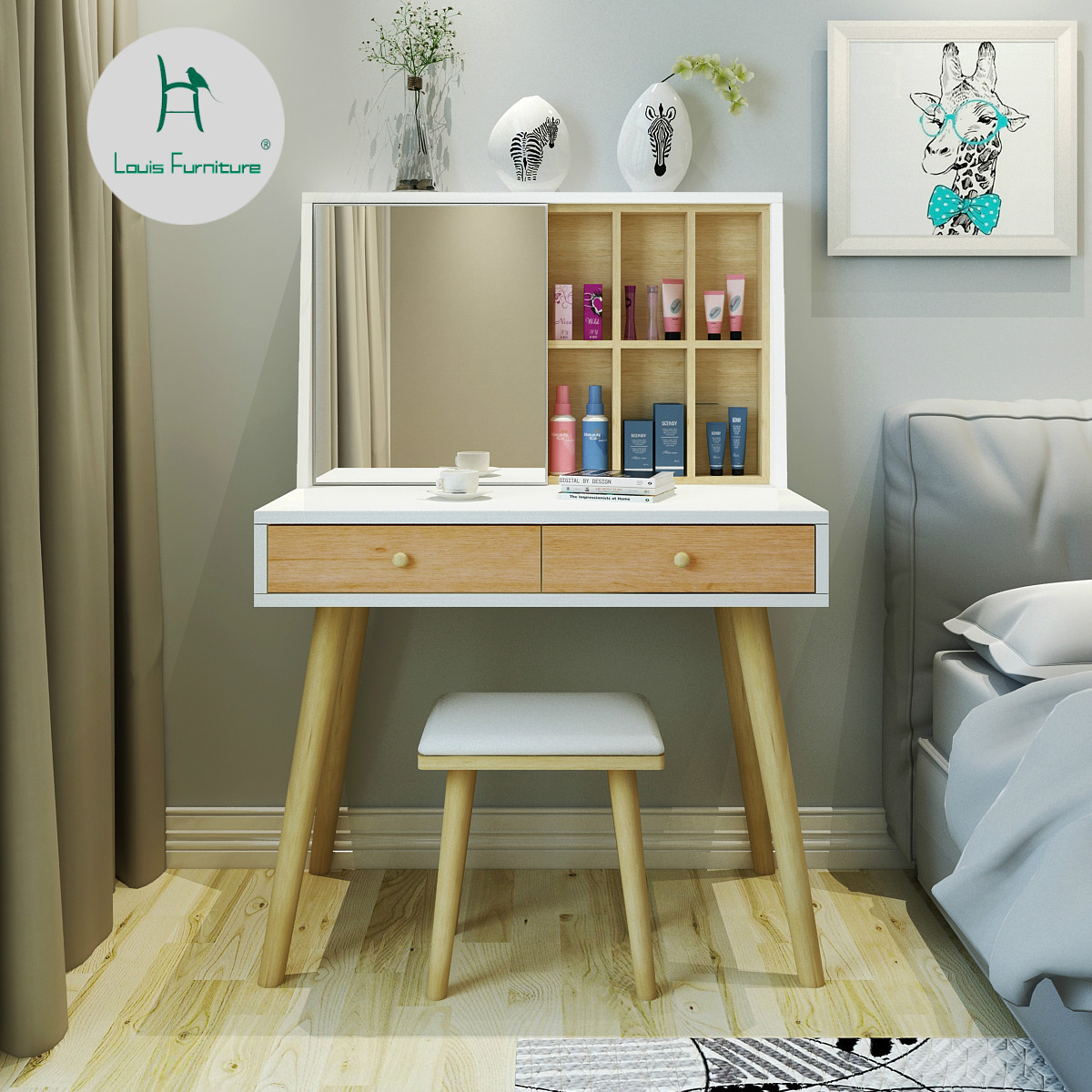 US $177.9 |Louis Fashion Dressers Simple Nordic Dressing Table Bedroom  Economy Small Apartment Mini Compact Modern Assembled Solid Wood-in  Dressers ...