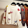 Colorful Butterfly 3D Embroidery Pullovers Autumn Winter New Fashion Women Sweaters Long Sleeve O-neck Knitted Sweater 63042