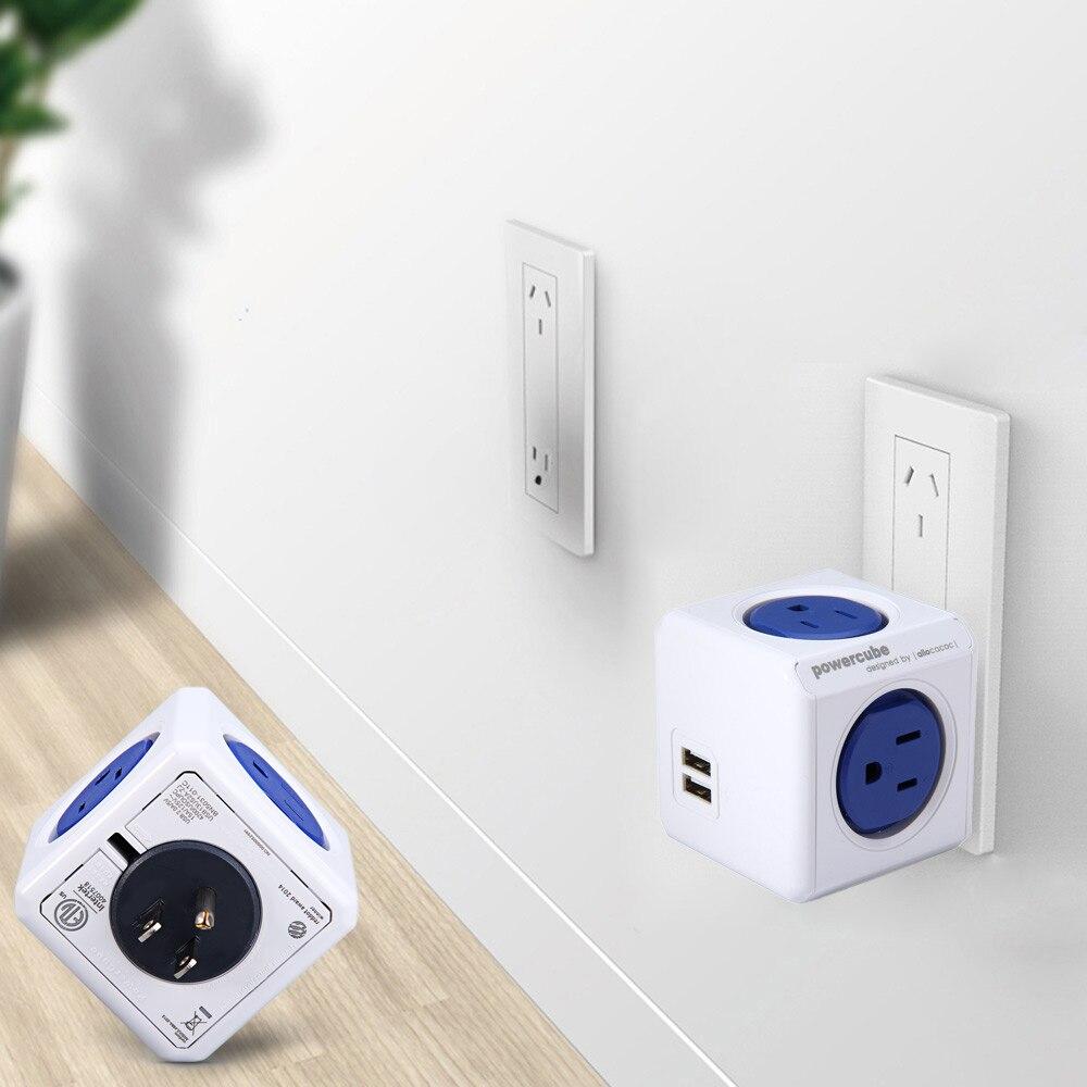 1 Pièce Allocacoc Prise Murale Pratique 4 USB Mur Prises Bouchon puissance Cube Socket Avec USB Ports Adaptateur-16A 250 V Pour la maison