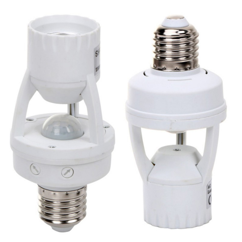 High Sensitivity PIR Motion Sensor E27 LED Lamp Base Holder 110V-240V With light Control Switch Infrared Induction Bulb Socket pir motion sensor lamp holder 180 240v
