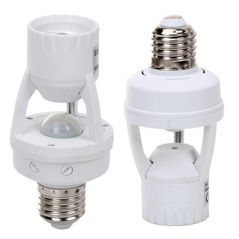 High Sensitivity PIR Motion Sensor E27 LED Lamp Base Holder 110V-240V With light Control Switch Infrared Induction Bulb Socket