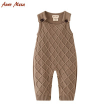 цена на New 2017 Spring Baby Knitted Romper Sleeveless Cotton Plaid Overall Infant Onesie Playsuit