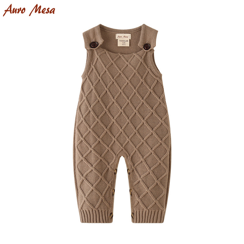 Khaki Baby Overalls Baby Knitted Romper Sleeveless Cotton Plaid Overall Infant Onesie Playsuit ...