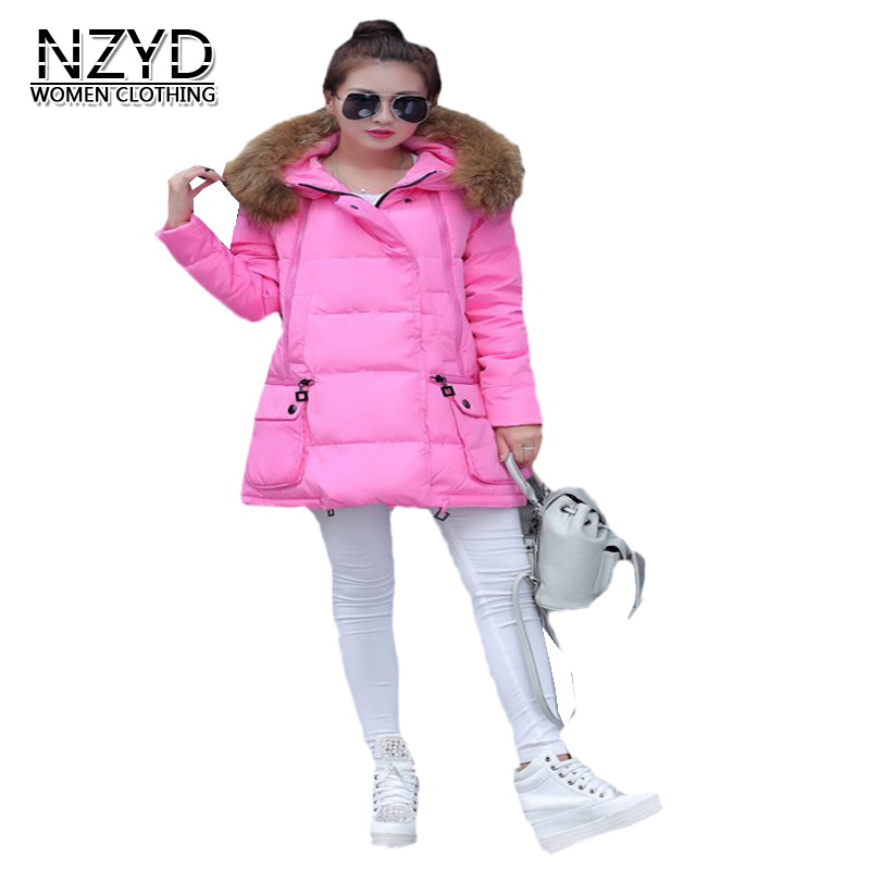 2017 Latest Wnter Fashion Women Down jacket Hooded Thickening Super warm Medium long Coat Long sleeve Loose Big yards Coat NZ15 ...