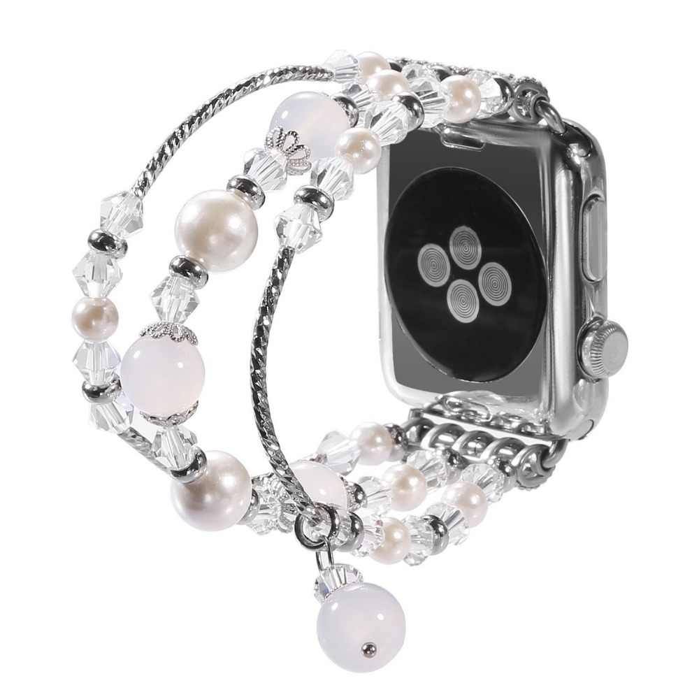 For Apple Watch 5 Band Handmade Elastic Stretch Beaded Faux Pearl Agate Natural Stone Bracelet Strap Women Girls Series 5 4 3 2