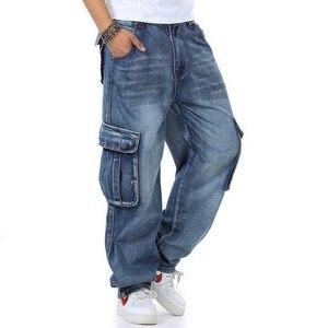 Image 2 - Джинсы мужские мешковатые джинсы Мульти Карманы скейтборд карго джинсы для мужчин Тактические Джинсы джоггеры джинсы размера плюс 30 46