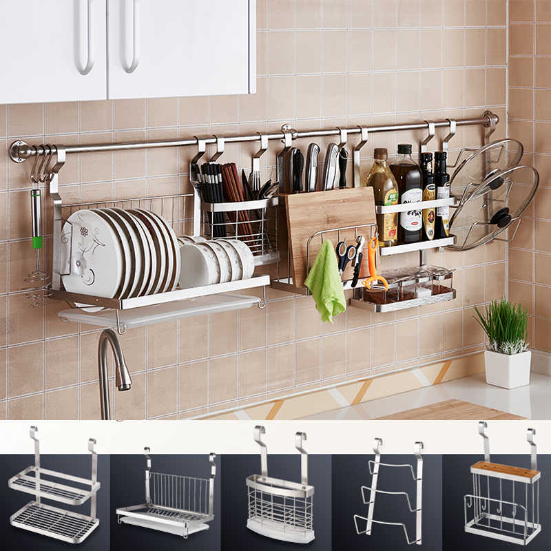 DIY Stainless Steel Kitchen Storage Rack Dish Rack Cutting Boards Stand 304  Stainless Steel Wall Mounted Kitchen Accessories