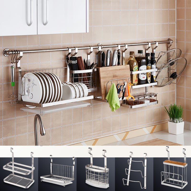 DIY Stainless Steel Kitchen Storage Rack Dish Rack Cutting Boards Stand 304 Stainless Steel Wall Mounted Kitchen Accessories stainless steel sink drain rack