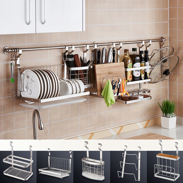 Kitchen Accesories 42 Inch Wall Cabinets Diy Stainless Steel Storage Rack Dish Cutting Boards Stand 304 Mounted Accessories