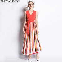 243ee508d 2019 Summer Dress Women Sleeveless Striped Knitted Dress Long Pleated  Dresses High Quality Fashion Roe Femme