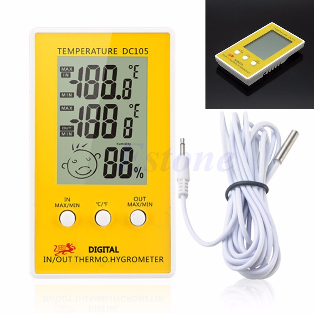 Digital LCD Indoor Outdoor Humidity Hygrometer Thermometer Meter Probe Cable C//F