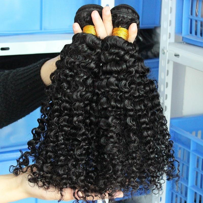 3B 3C Kinky Curly Weave մարդկային մազերի - Մարդու մազերը (սև) - Լուսանկար 3