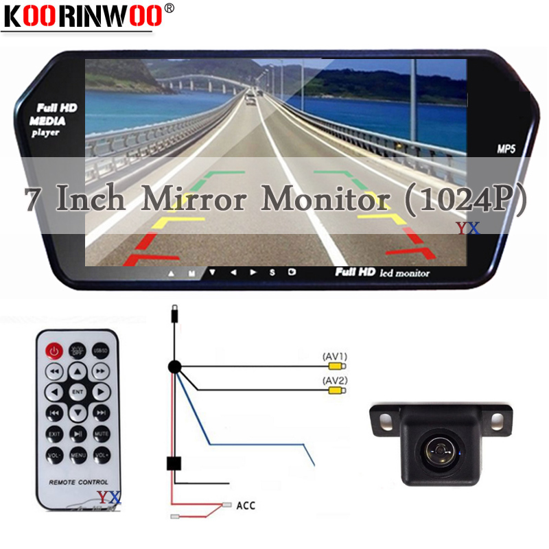 Koorinwoo HD 7 Inch TFT LCD Display 1024*600 Car Mirror Monitor Bluetooth MP5 with USB/SD Slot Rear View Camera Parking System