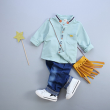 Autumn Spring Baby Boy Clothes Set 2pcs Long Sleeve Standed Collar Single Breasted Shirt Denim Pants Boys Clothing Suit