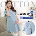 Maternity clothing летний топ 2017 лето джинсовая рубашка материнства рубашка основной свободно с коротким рукавом рубашки