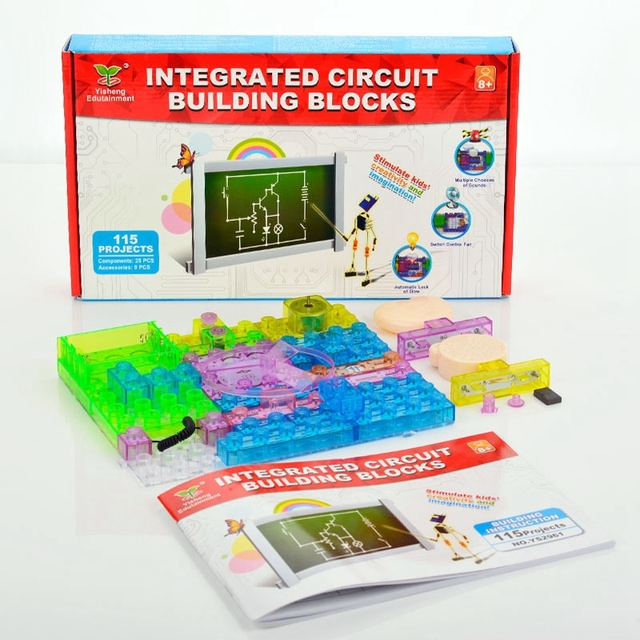 new 115pcs integrated electronic circuit building blocks kit physicsnew 115pcs integrated electronic circuit building blocks kit physics learning development toy electronic experiments kids