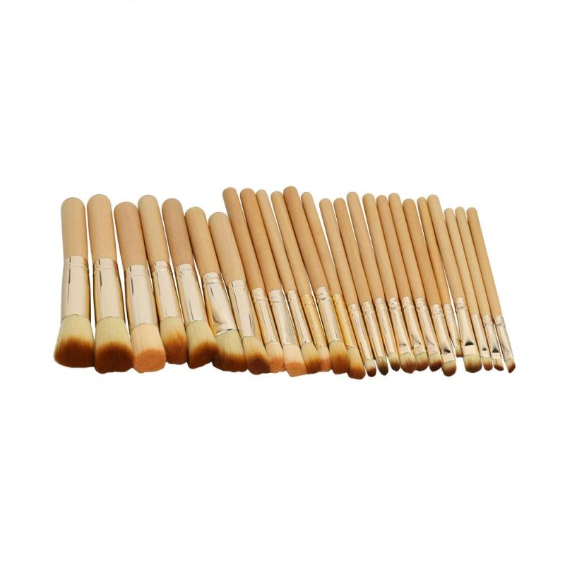 25pcs Makeup Brush Yellow tube hair Set Facial Foundation Cosmetic Eyeshadow Eyebrow Make Up Brush Kit with Makeup bag L3 12pcs makeup brush set wood handle facial mask foundation brushes cosmetic eyeshadow eyebrow make up brush kit makeup bag