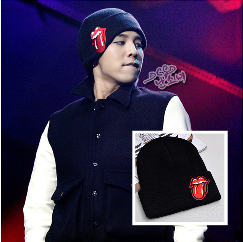 kpop Fashion hip hop Bigbang Knitted cap GD Korean version of the fall and winter warm hats Embroidery wool hat lips big tongue 2015 bigbang world tour [made] in seoul release date 2016 02 04 kpop