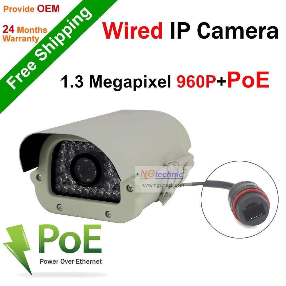 ФОТО Big Gun Bullet 35Pcs IR leds 1.3mp 960P Weatherproof Indoor & Outdoor CCTV IP Camera  IR-Cut With PoE Function Free Shipping