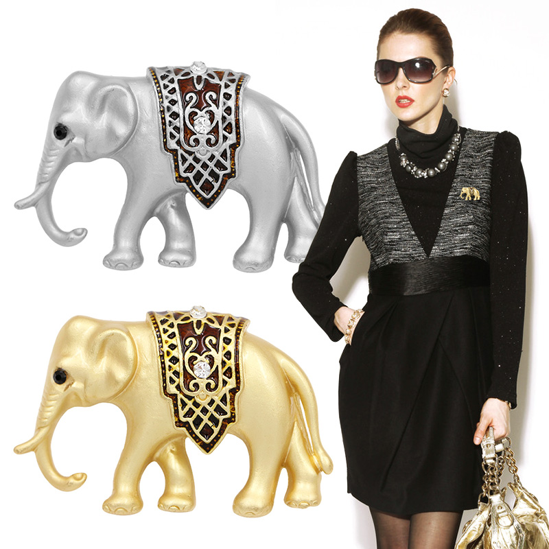 Factory Direct Sale Matte Gold Color Plated Elephant Brooch Pins Jewelry for Women Dress