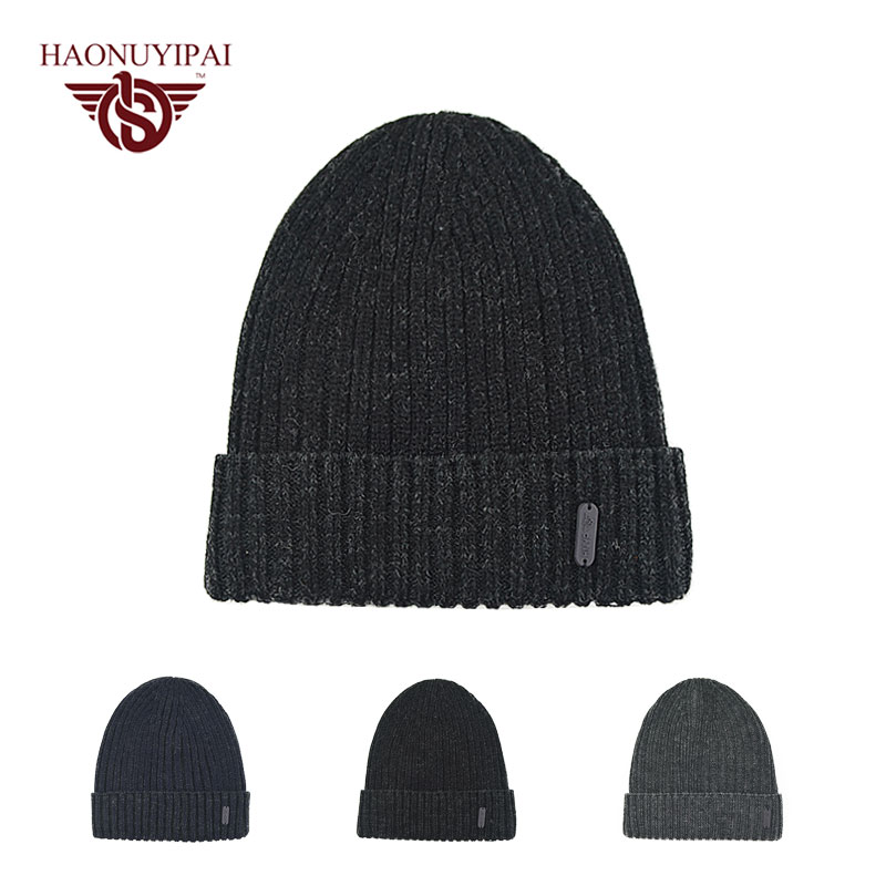 Brand Knitted Cotton Skullies Beanie Hat Warm Winter Thicken Black Hat Gorros Women Casual Simple Style Caps Men Accessories skullies
