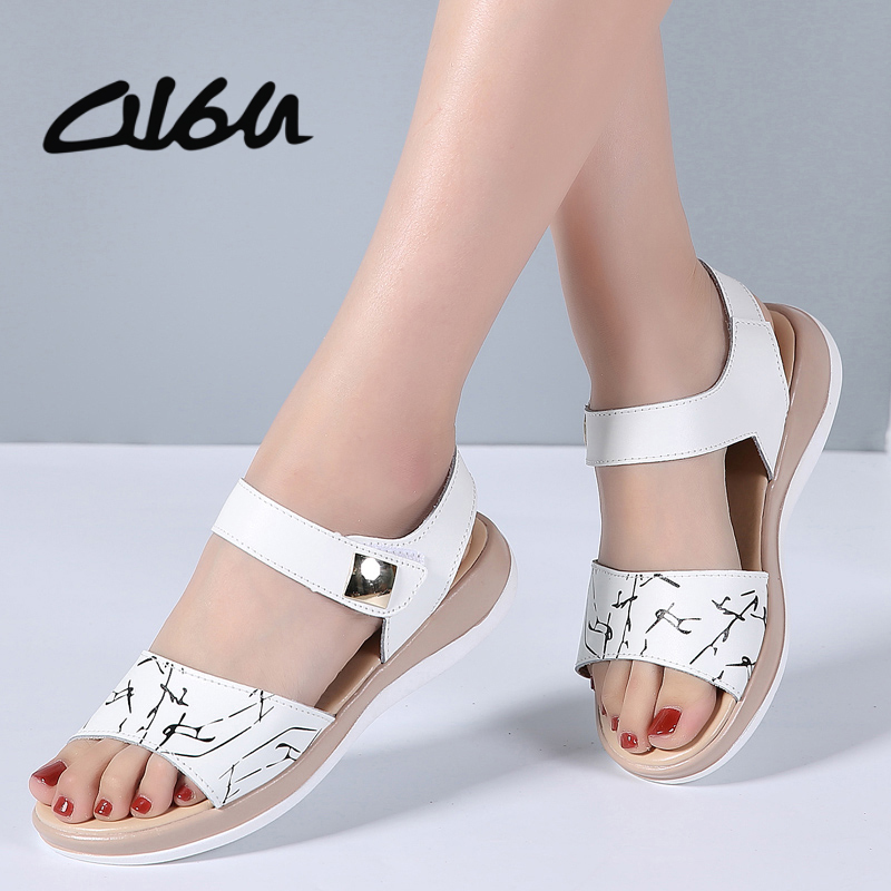 O16U Women Casual Sandals Summer genuine Leather Open Toe Flat Sandals ankle Strap Ladies Solid Black White gladiator Sandals new 2018 women open toe flip flops fashion ankle strap gladiator sandals women big size 34 43 ladies casual flat rome sandals
