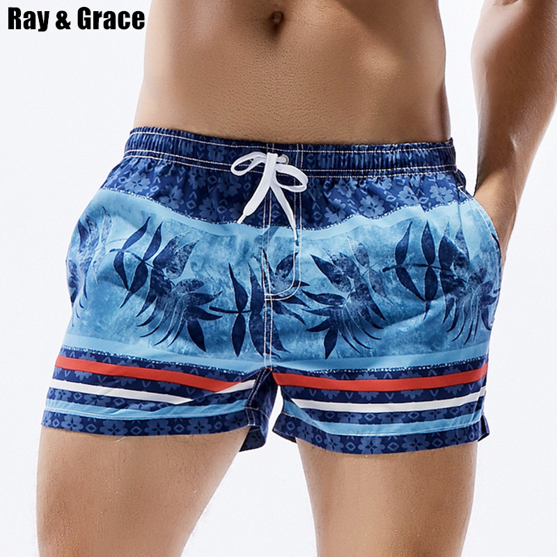 RAY GRACE Summer Surfing   Shorts   Men Beach   Board     Shorts   Stripes Leaves Print Low Waist Swimming Trunks Male Swimwear