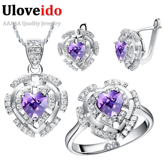 Conjunto de jóias de prata banhado a roxo conjuntos de jóias de noiva conjuntos de jóias de casamento acessórios colar brincos anel coração uloveido t053