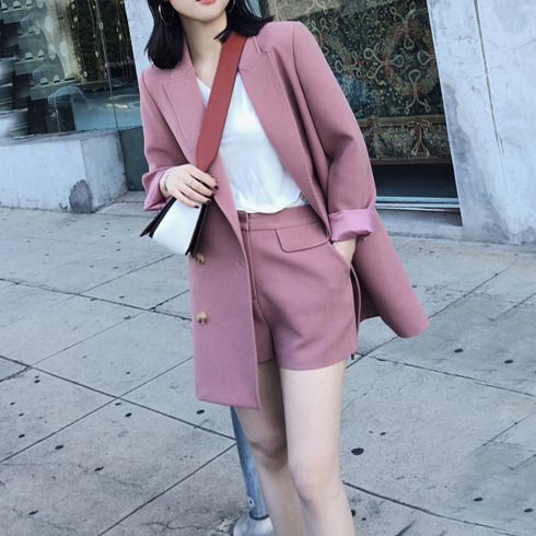 spring new in the long paragraph small suit jacket female casual suit= two pic / 1 set wide leg shorts suit