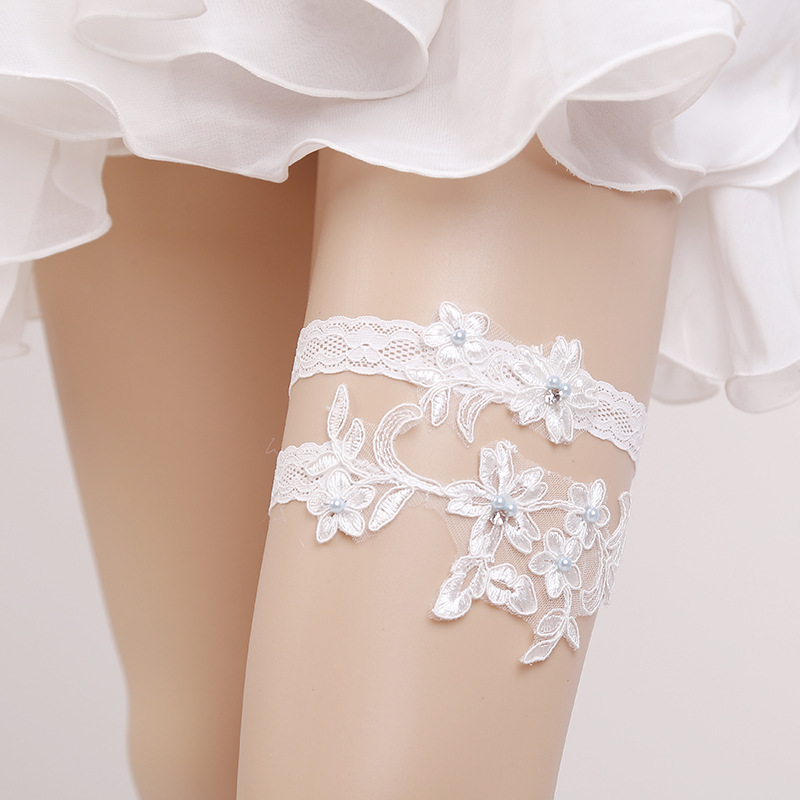 Women's Intimates Garter White Embroidery Flower Beading Rhinestone Female Wedding Garters For Bride Rubber Lace Band Bridal Leg Garters Wg009