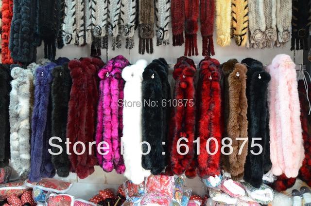 Venda quente Mulheres homem Mulheres curto multicolor bola de cabelo do coelho rex pele de Coelho cachecol cachecol