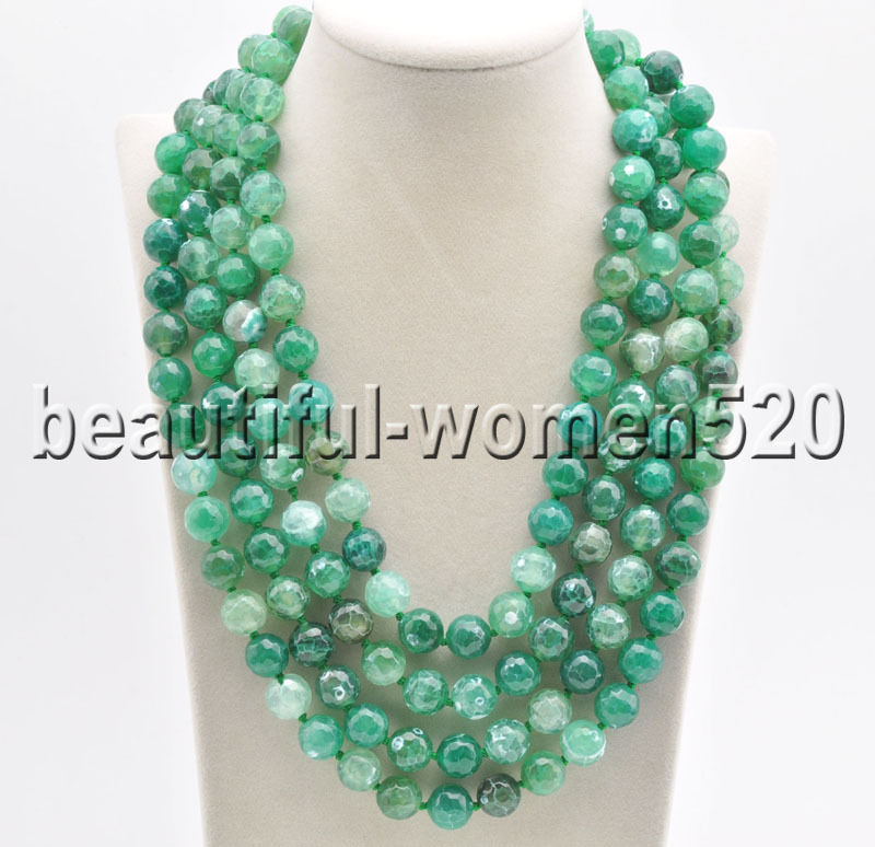 Z8533 Green 12mm Faceted Stone Bead Necklace 80inchZ8533 Green 12mm Faceted Stone Bead Necklace 80inch