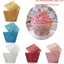 12Pcs Hot Sanwony Little Vine Lace Laser Cut Cupcake Wrapper Liner Baking Cup Hollow Paper Cake Cup DIY Baking Fondant Cupcake