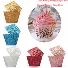 12Pcs 뜨거운 Sanwony 작은 포도 나무 레이스 레이저 컷 컵케잌 래퍼 라이너 베이킹 컵 중공 종이 케이크 컵 DIY 베이킹 퐁당 컵케익