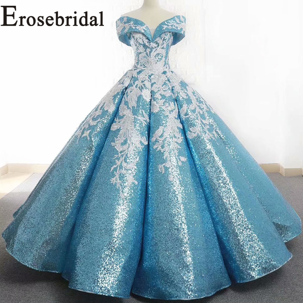 Erosebridal New Arrival 2019 Azure V-Neck   Prom     Dresses   Appliques   Dress     Prom   Long Party   Dress   off the Shoulder vestidos de gala