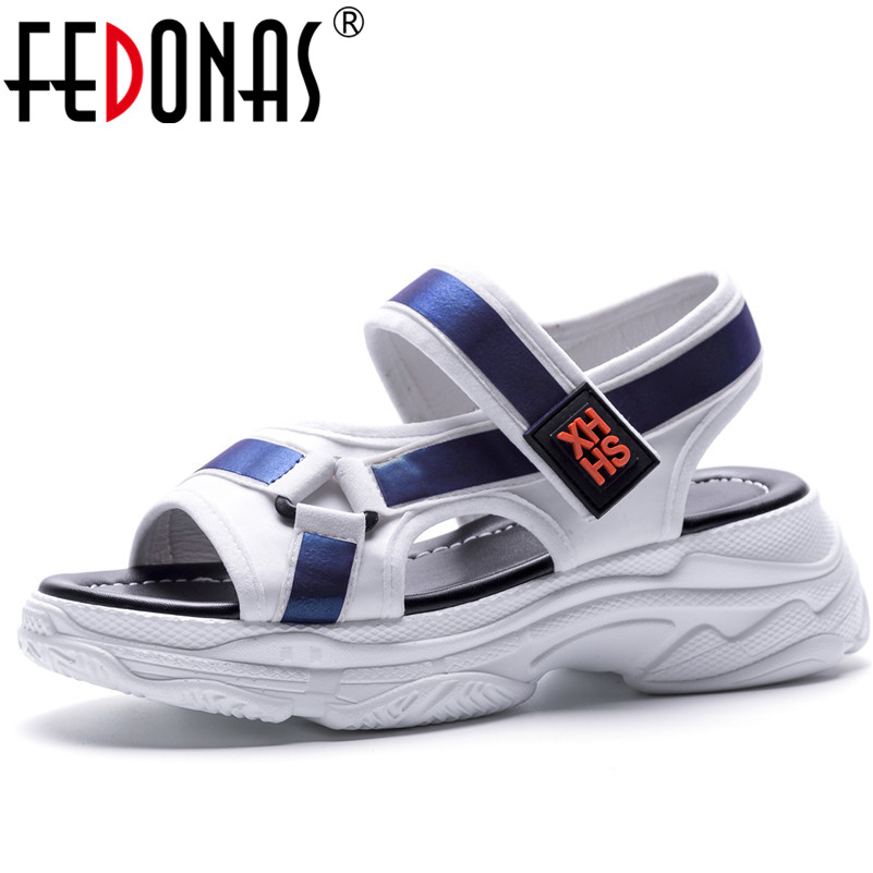 FEDONAS New Summer Sandals Women Comfortable 2018 Summer Wedges High Heels Sandals Ankle Strap Comfort Casual Shoes Woman