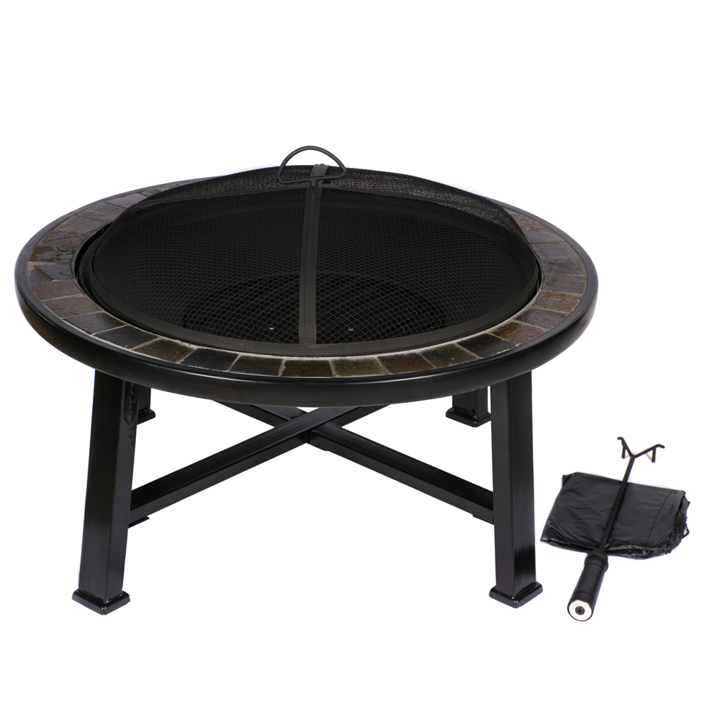 HIO 30 Inch Natural Slate Top Outdoor Fire Pit with Spark ...