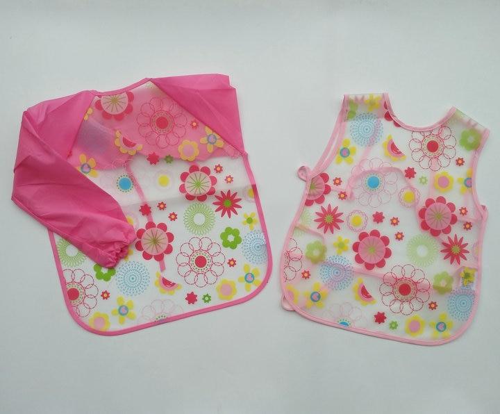 New Born Baby Bib Burp Clothes Set Soft Feeding Eat Toddle Waterproof 1 Pc Long Sleeve Art Apron & 1 Pc Bib Set 0-48 month